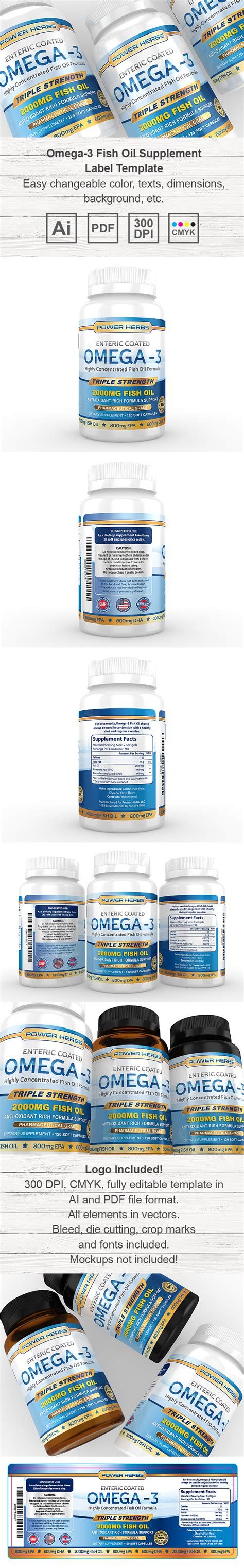 Omega 3 Fish Oil Supplement Label Template Supplement Label Template