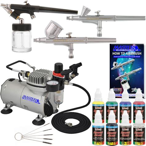 new 3 airbrush kit 6 primary colors air compressor dual hobby set ebay