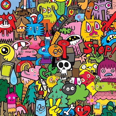 doodle name berwarna jon burgerman original sticker kit media molecule