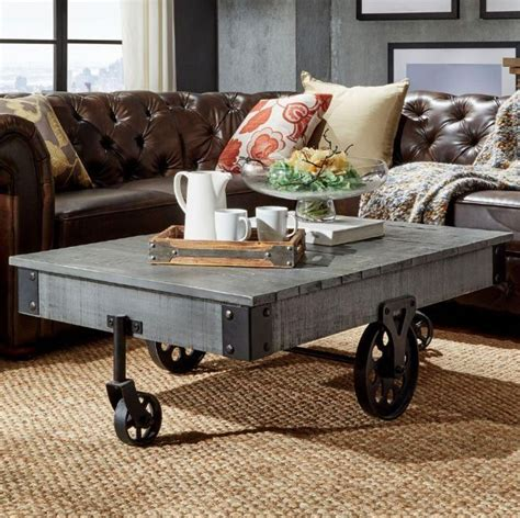 Rustic Coffee Table With Wheels Vintage Rustic Wood Factory Cart Wheels Cocktail Coffee Table Furniture Grey Ebay