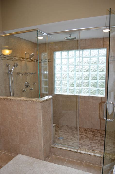 window for bathroom shower walk in shower with glass block windows bathroom ideas