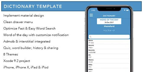 dictionary template dictionary template for ios by expresstemplate codecanyon