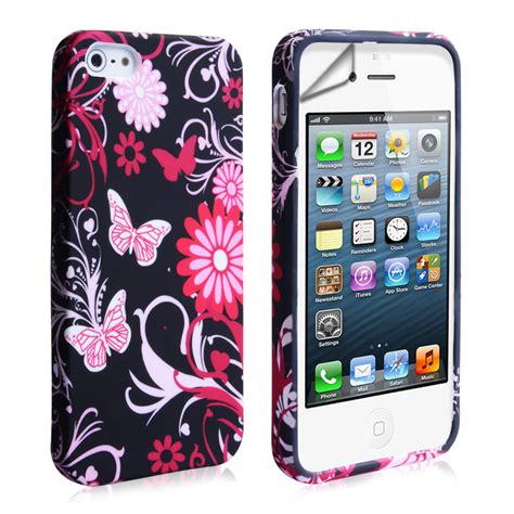 Iphone 5 5s Pink yousave iphone 5 5s floral pink black mobile