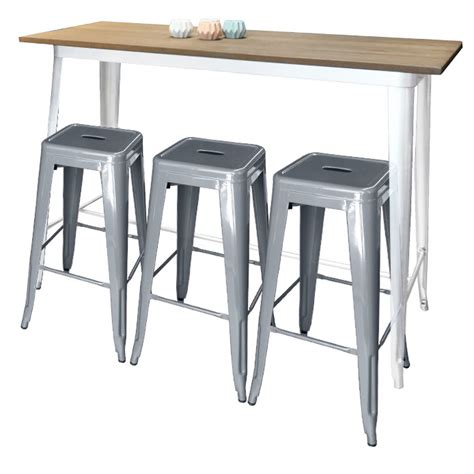 table and bar stools tolix bar table with white legs silver stools