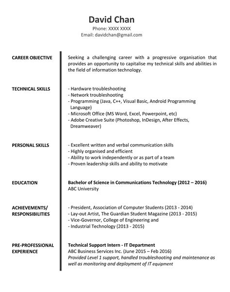 simple resume sles for fresh graduates sle resume for fresh graduates it professional jobsdb hong kong