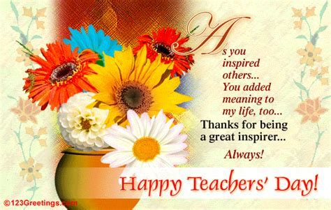 A Great Inspirer  Free Teachers' Day (India) eCards