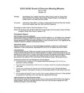 Board Of Directors Meeting Minutes Template by Board Of Directors Meeting Minutes Template 8 Free