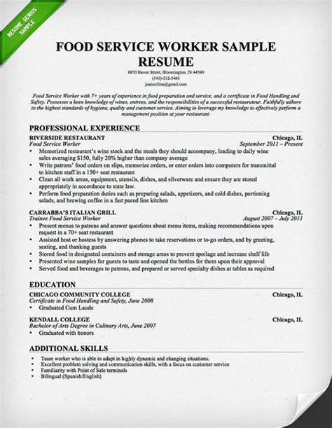 resume examples sample food service worker objective regarding 15