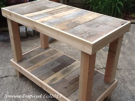 Pallet Kitchen Island | pallet project kitchen island work table joanne inspired