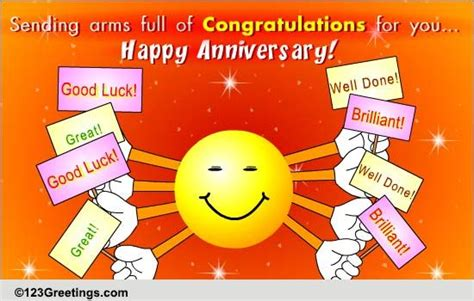 Coworker Anniversary Card happy corporate anniversary to you free at work etc