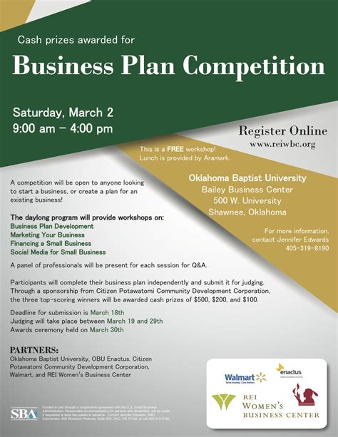 Business Plan Compeitions Mba by Obu Business Plan Competition 171 Shawnee Economic