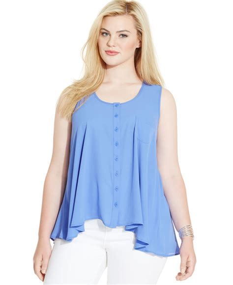Button Front Blouse style co plus size sleeveless button front blouse in