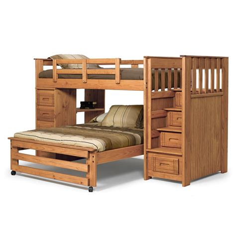 Bunk Bed Stairway Chelsea Home Furniture 364401 Stairway Bunk Bed With 4 Drawer End In Honey
