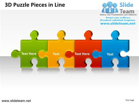3d puzzle pieces in line powerpoint ppt slides