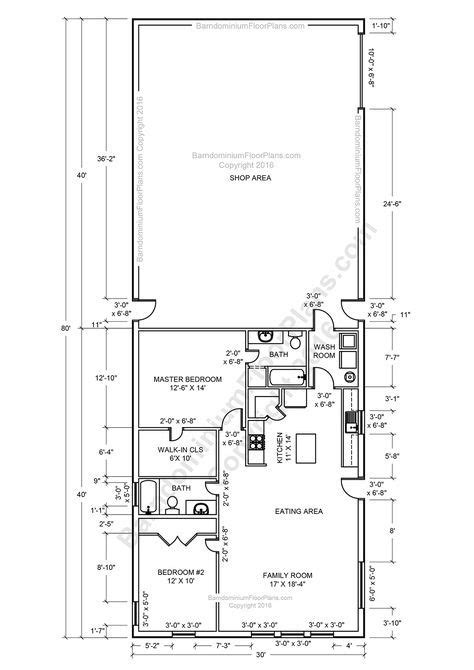 2 bedroom house plans 30x40 2 bedroom 2 bath barndominium floor plan for 30 foot wide
