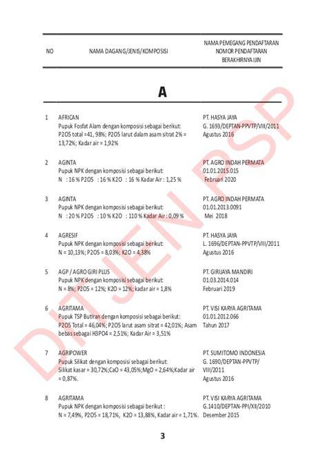 Pupuk Npk Mutiara Prima Flora buku pupuk terdaftar 2016