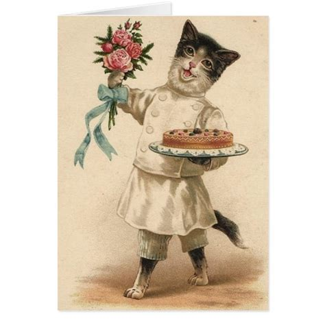 free printable victorian birthday cards victorian cat chef baker birthday card zazzle