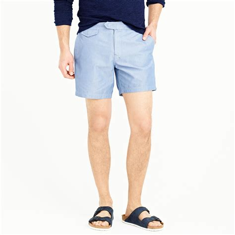 J Crew Gift Card Discount - j crew mens 6 5 quot tab swim shorts in chambray or large dot from j crew for 11 99