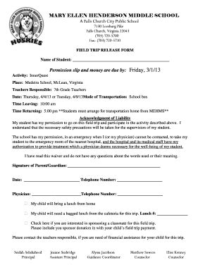 20 Printable Field Trip Permission Slip Template Forms Fillable Sles In Pdf Word To Field Trip Waiver Form Template