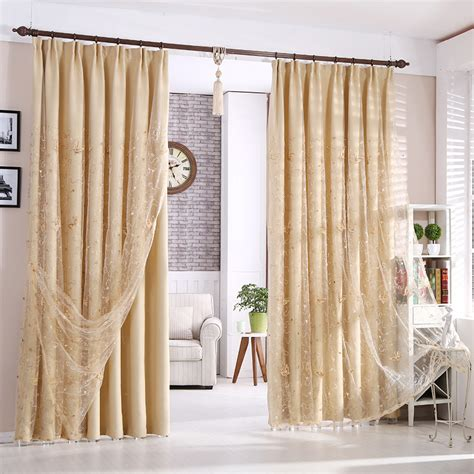 beautiful beige blackout polyester living room curtains