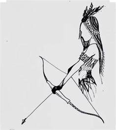 indian bow and arrow drawing ink art by chiccharcoals