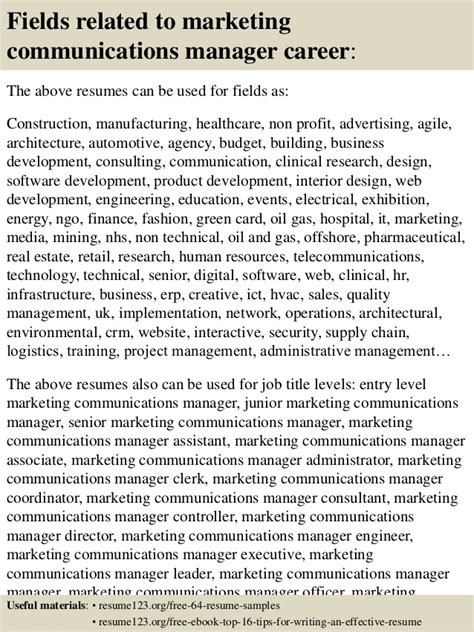 Resume Sles Communications Manager top 8 marketing communications manager resume sles