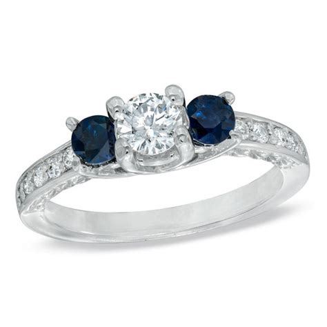 Blue Sapphire 12 3 Ct 1 2 ct t w and blue sapphire three