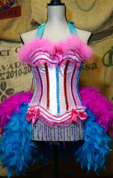 pink and blue mardi gras circus costume ringmaster dress pink blue