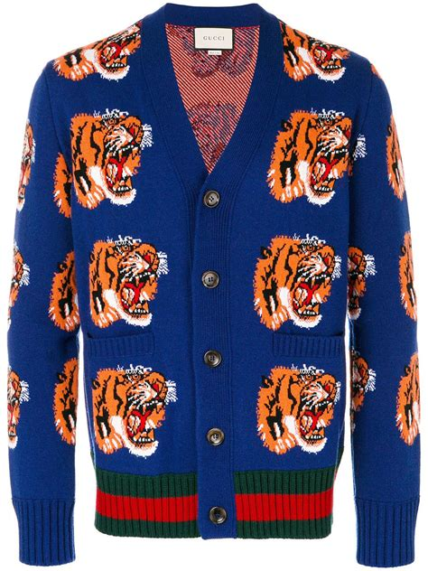 Get Macphersons Gucci Dress For 35 by Gucci Tiger Cardigan In Blue For Lyst