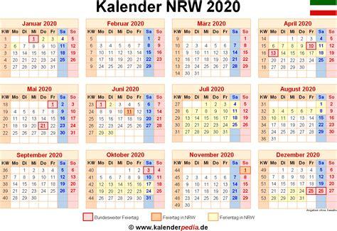 kalender  nrw ferien feiertage  vorlagen