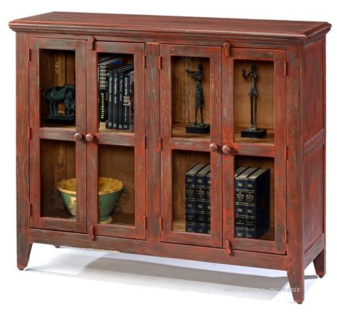 Solid Pine Rustic Bookcase Console With Doors In Antique Rustic Bookcase With Doors