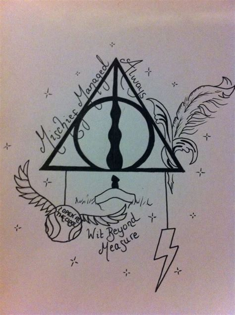 harry potter tattoo design hallows by amylou31 on deviantart