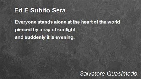 poesie ed e subito sera