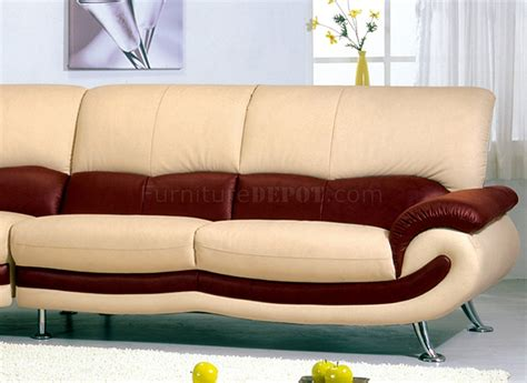 Two Tone Leather Sofa Two Tone Leather Modern Sectional Sofa W Chromed Metal Legs