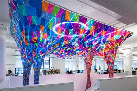 boat n net corporate office softlab installation brings much needed color to a drab