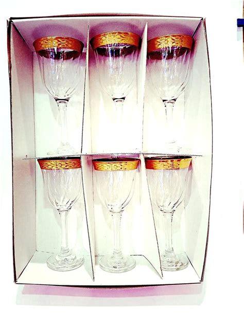 bicchieri bianchi bicchieri vino bianchi con bordo oro confezione