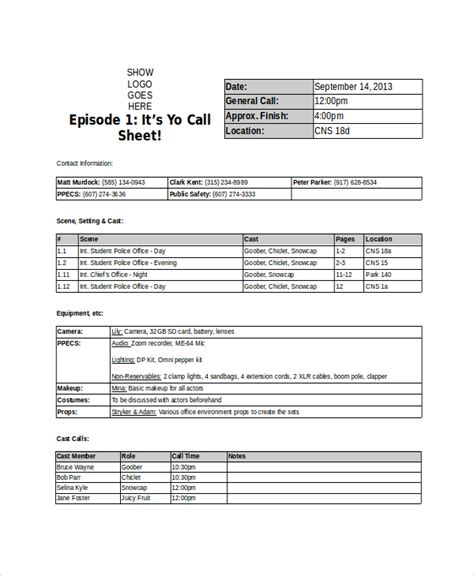 template call sheet 33 sheet templates free sle exle format free