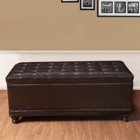 brown leather tufted ottoman adeco brown bonded leather rectangular tufted storage