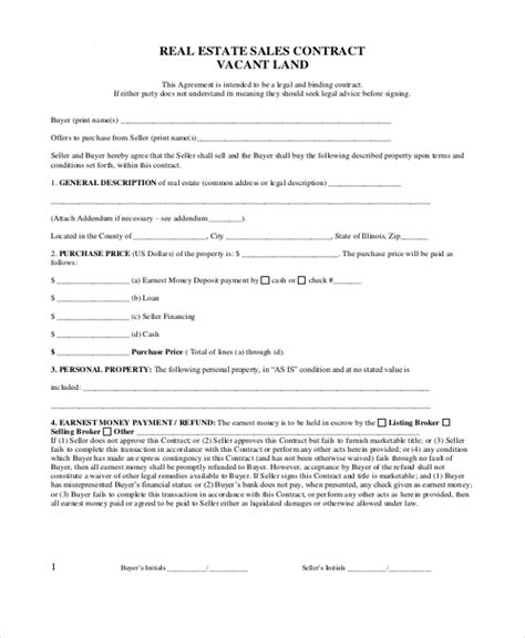 real estate sales contract sle real estate sales contract form 8 free documents