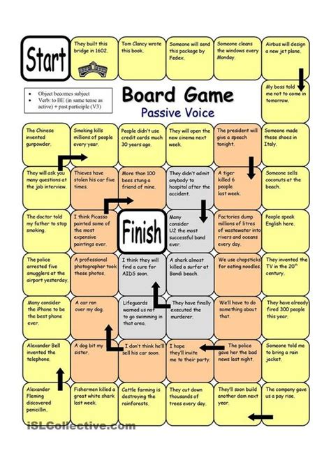 printable language board games board game passive voice worksheet free esl printable