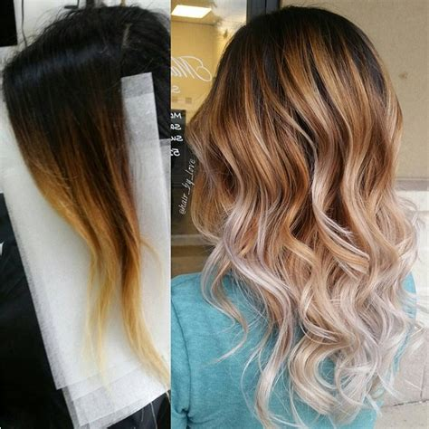 medium length hair with ombre highlights wavy balayage