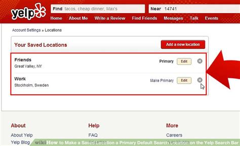 How To Search On Yelp How To Make A Saved Location A Primary Default Search Location On The Yelp Search Bar
