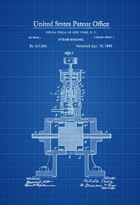 Tesla Nikola Inventions Tesla Steam Engine Patent Print 1894 Tesla Invention