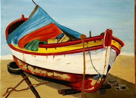 greek boat greek fishing boat acrylic on 16x20 canvas karen s art