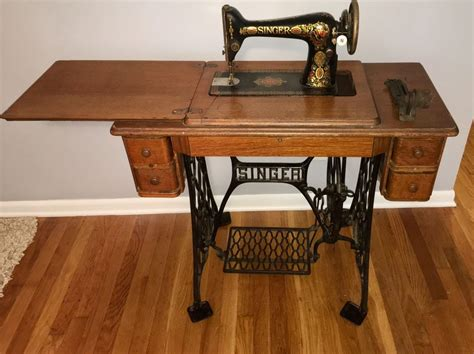 vintage singer treadle sewing machine in oak cabinet ebay