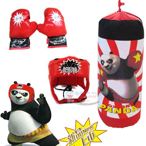 Boxing Bag Kungfu Panda children boxing gloves hanging sandbag helmet set kung fu