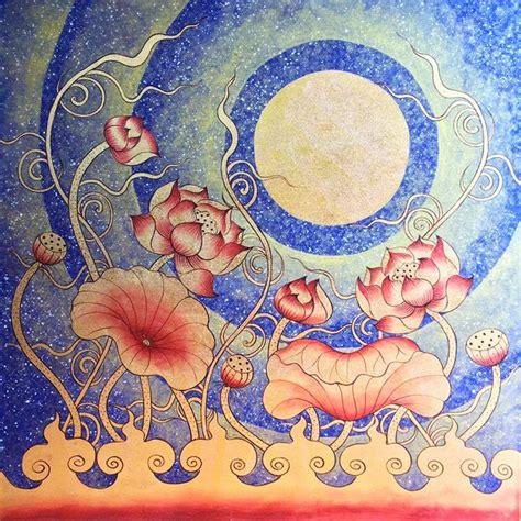 lotus flower painting designs lotus flower wall thai golden moon royal thai