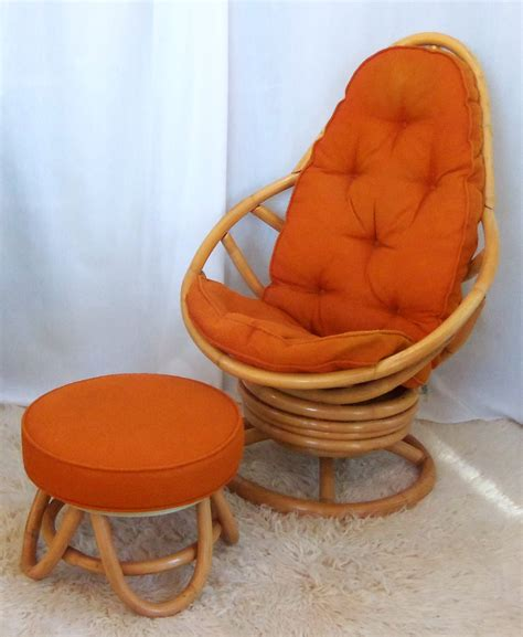 wicker chair and ottoman retro rattan swivel rocker with ottoman omero home