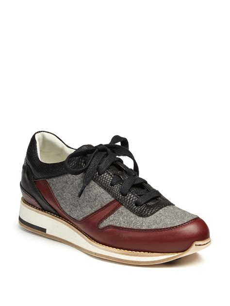 lanvin leather and felt low top running sneakers in gray
