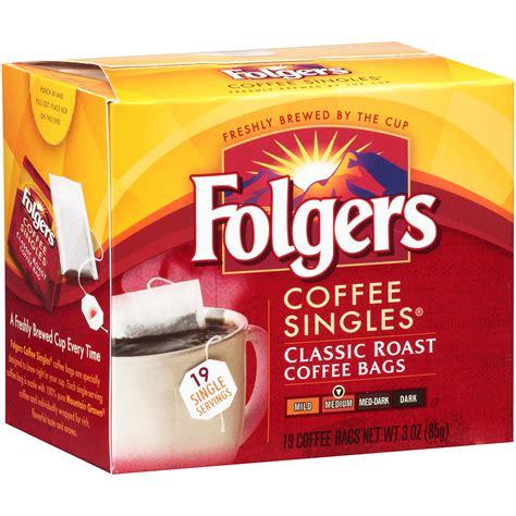 Folgers Coffee Singles   Single Cup Coffee Bags   Regular   19ct Box